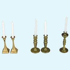 2 Pairs and 1 Brass Candlestick for a Doll House