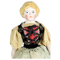 "German Blonde China Head, 14 3/4"" tall, Antique Clothing"