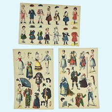 3 Pages of Uncut German Paper Dolls Ca. 1900, Ex Condition