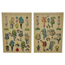 2 Pages of French Uncut Paper Dolls, ca.1910