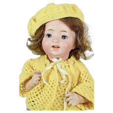 """Character Bisque Head Baby Doll by Morimura Brothers, 12"""" tall"""