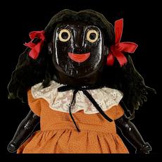 """Black Wooden Folk Art Doll, 20"""" tall, 1950's"""