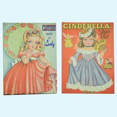 2 Uncut Paper Doll Books: Cinderella & Clothes Make A Lady, 1940's