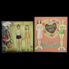 2 Uncut 1946 Paper Dolls: The Scissors Bits Paper Dolls & Statuette Dolls, EX
