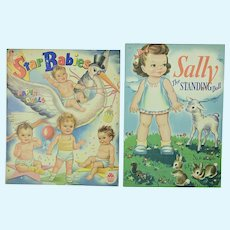 2 Uncut Paper Dolls: Star Babies & Sally, The Standing Doll, 1945, Near Mint