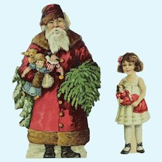 Santa Claus and Little Girl Paper Doll w/ Clothing, ca. 1900