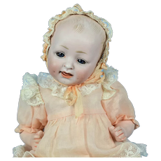 """Cabinet Size Bisque Head Baby Doll #151, 9 1/2"""" tall"""