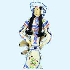 "Leather Navajo Indian Doll, 13"" tall"