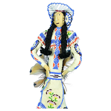 """Leather Navajo Indian Doll, 13"""" tall"""