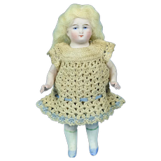"""German All Bisque Doll, 5 1/2"""" Tall, Painted Eyes"""