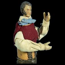 "Wax Italian Creche Figure of a Man, A/O, 6 1/2"" tall"