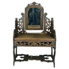 Antique Wood Dressing Table for French Fashion doll, ca.1870's