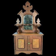 """Doll's Wooden Dresser, 20"""" tall, 1880's"""