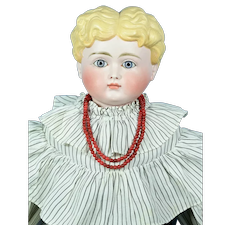 """Bisque Shoulder Head With Glass Eyes, ca. 1880, 25 1/2"""" tall, Wonderful Antique Clothing"""