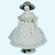 "1860's Doll House Sized China Head, 5 3/8"" tall, EX"