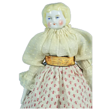 """Hertwig Blonde China Head, 9 1/2"""" tall, 1880, Lovely Clothing"""