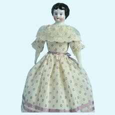 """German China Head, 6 3/8"""" Tall, Lovely Clothing"""