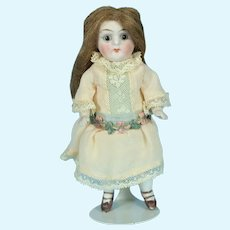 """German All Bisque Doll w/ Glass Eyes, 5"""" tall"""