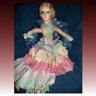 Lovely Vintage Blonde Boudoir Doll Unique Pastel dress free P&I US Buyers