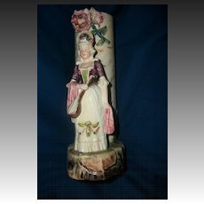 "Lovely 9"" Majolica Figural Vase Free P&I US BUYERS"