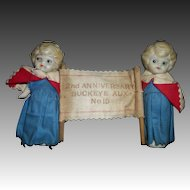 Rare 2 All bisque  dolls 2nd Anniversary Buckeye  Aux no 15 Free P&I US BUYERS