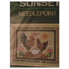 Wonderful Sunset Needlepoint Rooster Hen Kit Free P&I US Buyers