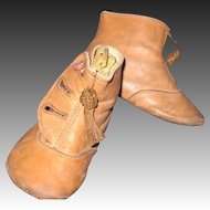 Vintage Leather High Button Baby shoes for Bisque dolls