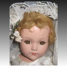 """18"""" Effanbee compo Bride doll with wrist tag free  P&I US Buyers"""