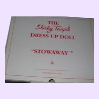 Shirley Temple doll Stowaway outfit Danbury Mint Free P&I US Buyes