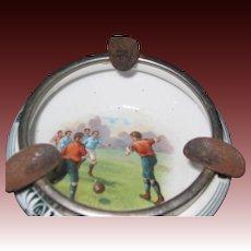 Vintage  unusual Soccer Ashtray  Lovely Scene Free P&I US Buyers