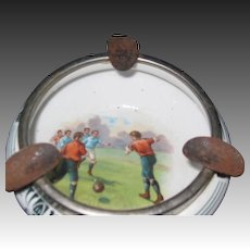 Vintage  unusual Soccer Ashtray  Lovely Scene Free P&I US Buyers