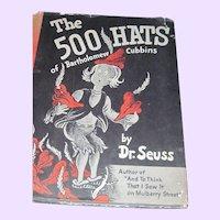 Early Edition Dr Suess 500 Hats of Bartholomew 1938 Vanguard Free P&I US Buyers