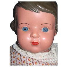 """Adorable 20"""" Celluloid Doll Glass eyes Turtle mark Repair Free P&I US Buyers - Red Tag Sale Item"""