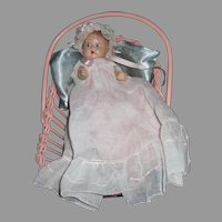 """Adorable 7"""" Composition Baby Doll & Cradle Free P&I US Buyers"""