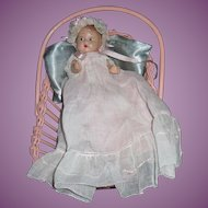 "Adorable 7"" Composition Baby Doll & Cradle Free P&I US Buyers"