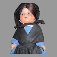 "9"" Pennsylvania Dutch Marie Polack 1936 Compo Amish Doll Free P&I US Buyers"