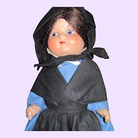 "9"" Pennsylvania Dutch Marie Polack 1936 Compo Amish Doll Free P&I US Buyers"