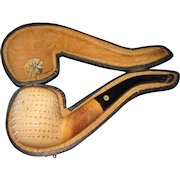 Meerschaum Carved pipe in a fitted case Free P&I US Buyers