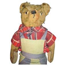 """19"""" Farmer Bear Mohair Teddy Bear Free P&I US Buyers"""