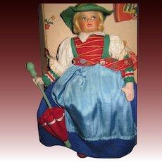 Adorble Lenci Type Doll w/box Manos Italy Free P&I US Buyers
