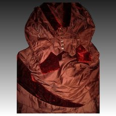 Beatiful Two Piece Victorian Taffeta with rich Brown Vevet accents  free P&I US Buyers