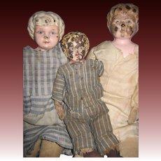 3 Old Tin Head Metal Doll Free P&I US Buyers