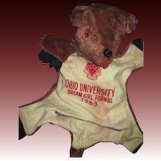 Adorable 1963 Phi Kappa Tau Ohio U Teddy Bear PJ BAG Free P&I US Buyers