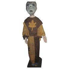 "38"" Papier Mache & Wood Folk Art Halloween or Ritural Figure Free P&I US Buyers"