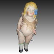 """5"""" German all Bisque Girl w/hir bow Free P&I US Buyers"""