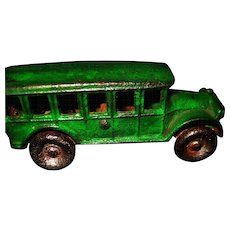"Arcade 5"" Green Cast Iron Touring Bus Free P&I US Buyers"