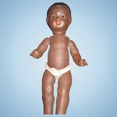 """12"""" Vintage Black Baby Doll with glass SE Free P&I US Buyers"""