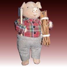 "Adorable 6"" Vintage stuffed Felt Wood chopper PIG Free P&I US Buyers"