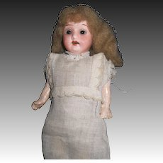 """German 7"""" bisque doll glass eyes Free P&I US Buyers"""