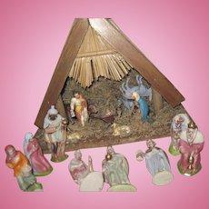 Beautiful German Nativity Scene many pieces Fee P&I US Buyers